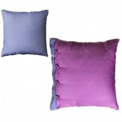 """Cojín bicolor new living colors"""" 40 x 40 cm lila y azul con botones a juego."""""""