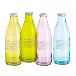 Botella moderna cristal capacidad 1 litro.