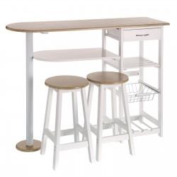 Mesa 2 taburetes mdf ideal para cocina 120 x 37 x 89 cm