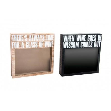 Caja guardacorchos madera y cristal diseño original 2M