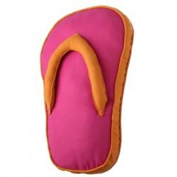 """Cojín original """"sandal"""" fucsia con relleno 200 gramos fibra hueca de poliéster. 28 x 45 x 4 cm"""