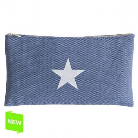Neceser portalapices moderna azul estrella con cremallera