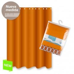 Cortina baño poliester naranja color basica 180x200 cm