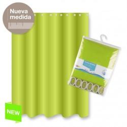 Cortina de baño poliester verde color basica 180x200 cm