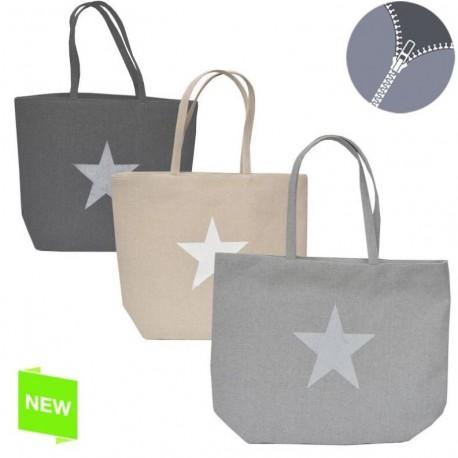 Bolso de mujer moderno diseño estrella colores natural con cremallera
