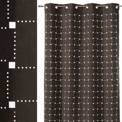 "Cortina moderna anillas ""squary"" gris 140 x 260 cm"