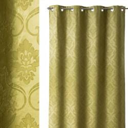 """Cortina rustico anillas """"damasco"""" verde 140 x 260 cm, ideal para salón Bretaña"""