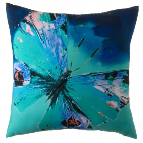 "Cojín moderno ""mariposa"" azul 45 x 45 cm"