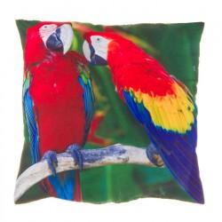 "Cojín cuadrado ""parrots"" multicolor 20 x 20 cm 100% poliéster"
