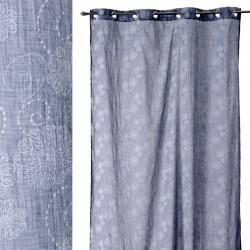 """Cortina bordada """"jeans flowers"""" azul 140 x 260 cm 8 anillas cromadas, 100% poliester"""