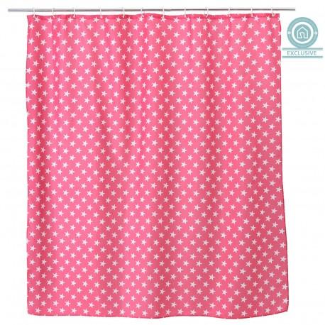 Cortina de ducha diseño estrellas de poliéster para cuarto de baño de 180 x 200 cm color rosa
