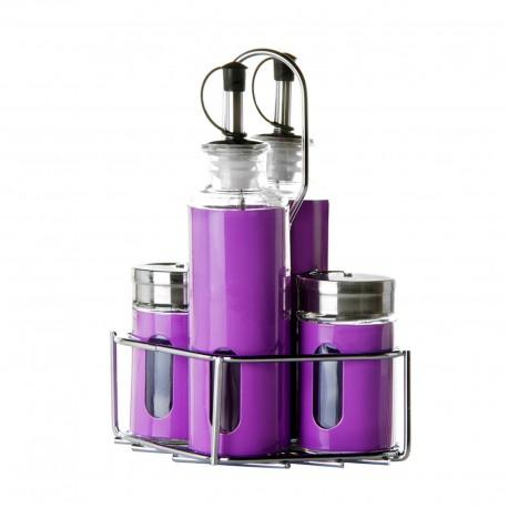 Aceitera 4 piezas para el aceite, vinagre, sal y pimienta. en caja con soporte