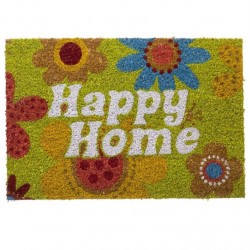 "Felpudo original de fibra de coco y base de goma ""happy home "" 40x60cm"