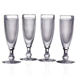 "S/4 copa cava ""diamonds"" cristal 5,60 x 7 x 18,40 cm capacidad: 140 cc. 300 gramos"
