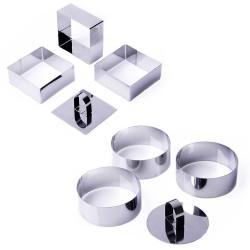 Set 6 molde Clasica acero inoxidable 6 x 6 x 4 cm redondo x3 y cuadrado x3