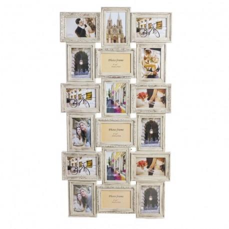 Portafoto multiple 18 fotos crema barroco clasico