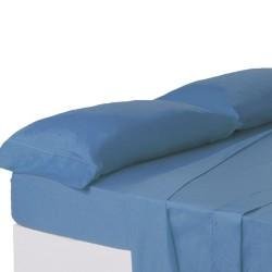 Juego de sábanas de cama 150 clásico azul de algodón / poliéster Basic
