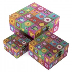 Juego de 3 caja decoradas FUNNY /lienzo/mdf (OFERTA)