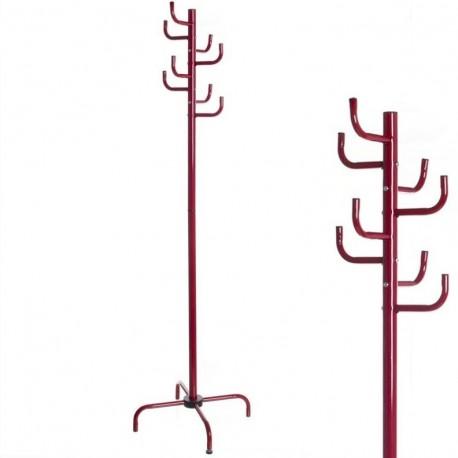 Perchero 8 brazos rojo metal 47 x 47 x 180 cm tubo de 32 mm.