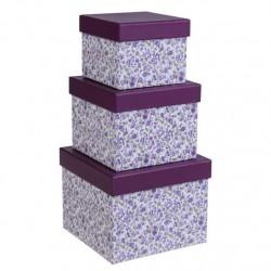 Juego 3 cajas cuadrado diseño clasico violeta