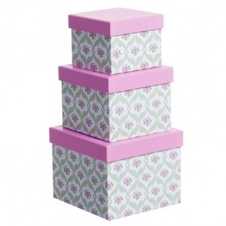 Juego 3 cajas cuadrado diseño clasico flor tapa rosa
