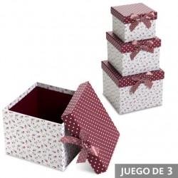 Juego 3 cajas cuadrado diseño original con lazo flor topos