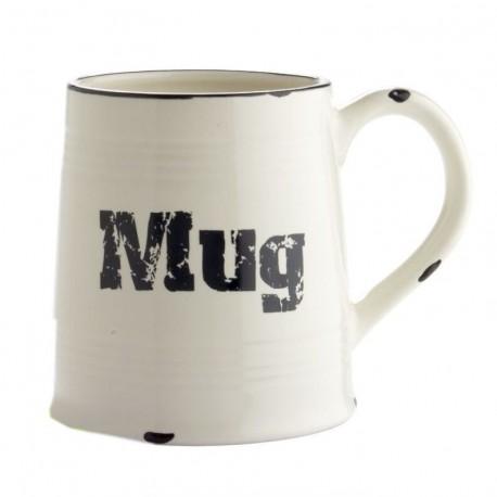 Taza vintage ceramica blanco/negro diseño original MUG