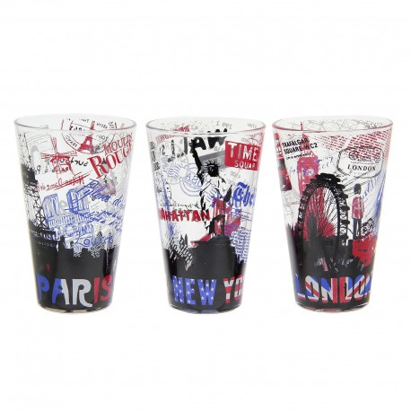 Set 3 vaso refresco cristal moderna city 3/m Diseño Original New york , Paris , London