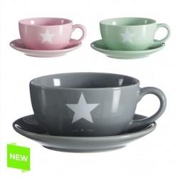 Tazas con plato diseño original estrella (Set de 3 tazas con plato) star moderno
