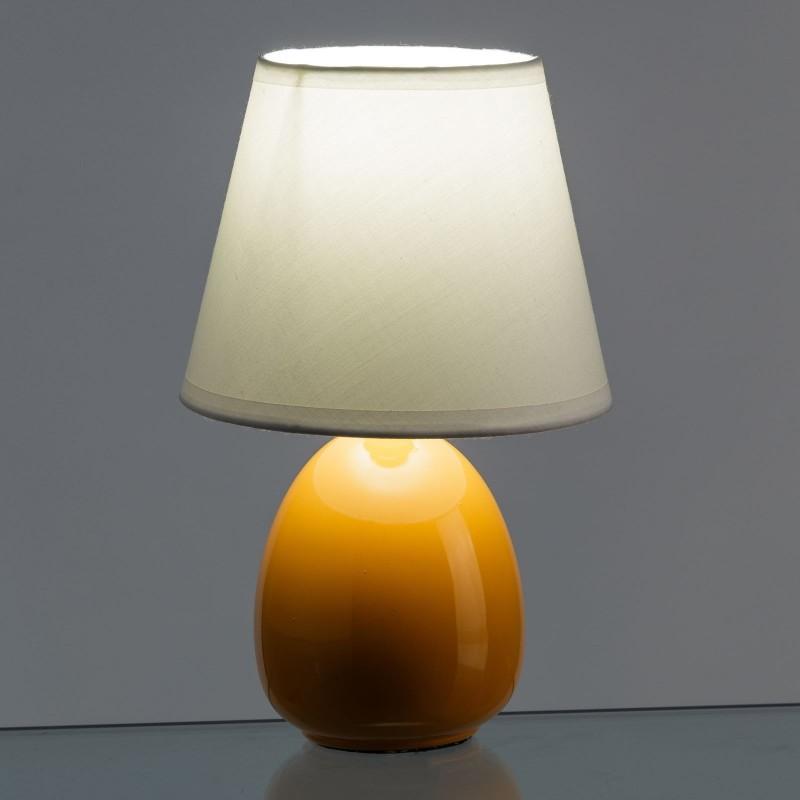 L mpara para mesita de noche moderna naranja de cer mica para dormitorio - Mesita noche pequena ...