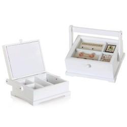 Caja costurero blanco de madera pino 23x19.50x10.50cm