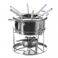 Fondue con 6 tenedores acero inoxidable para cocina moderna