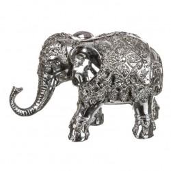 Figura elefante de suerte resina plateado 18 x 7 x 12 cm