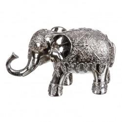 Figura elefante de suerte resina plateado 22 x 7 x 13 cm