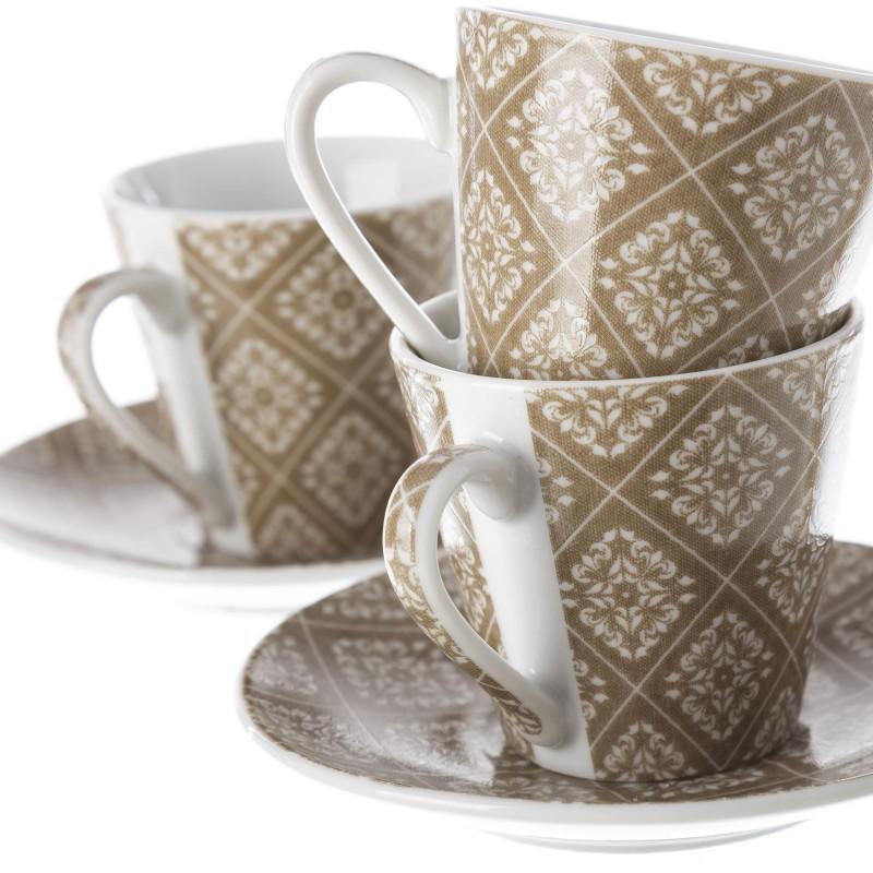 Juego 6 taza con plato cafe vintage marron con caja de for Juego tazas cafe