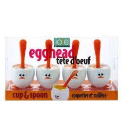Set de 4 hueveras y cucharas Eggy En caja de regalo.