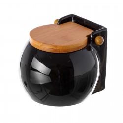 Salero negro cerámica con tapa de bambú. 3 x 12 x 11 cm