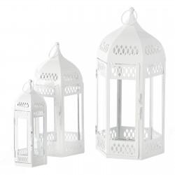 Faroles portavelas árabes blancos de metal para terraza