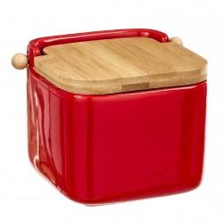 Salero rojo cerámica con tapa de bambú. 12x12x11cm