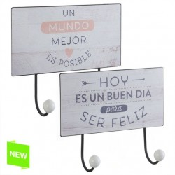 Perchero pared metal original frases de color 2 ganchos