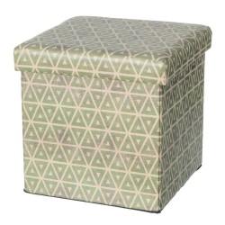 Puff plegable moderno verde de madera para salón 36 x 36 x 36 cm