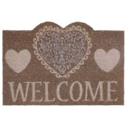 """Felpudo """"hearts welcome"""" fibra de coco 60 x 40 cm felpudo coco. 15 mm."""