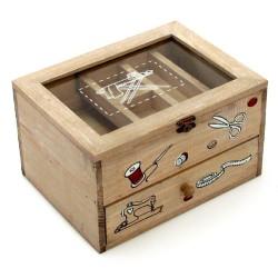 Caja costurero vintage marrón de madera para cocina