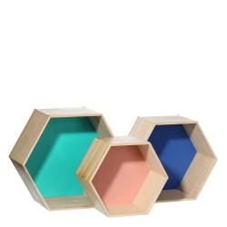 Estantes nórdicos beige de madera para dormitorio - set 3