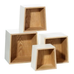 Estantes auxiliares nórdicos blancos de madera para salón - set 4