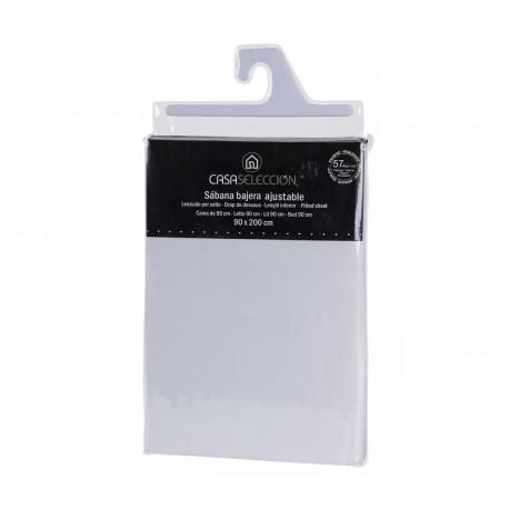 Sábana bajera cama 90 blanco 200 x 90 x 30 cm 48% algodon/52% poliester.