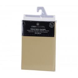 Sábana bajera cama 150 beige 200 x 150 x 30 cm algodon/ poliester.