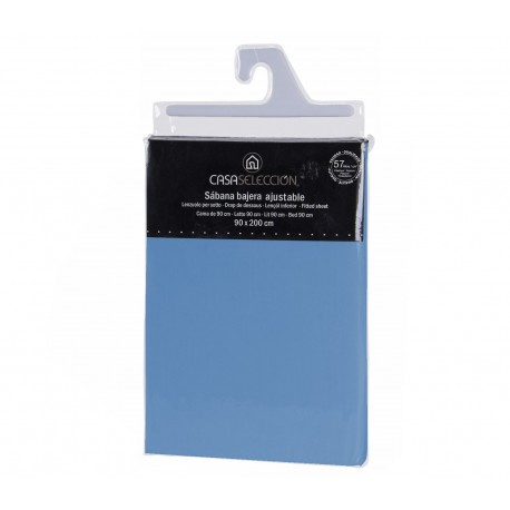 Sábana bajera cama 90 azul 200 x 90 x 30 cm algodon/ poliester.