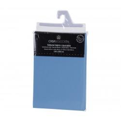 Sábana bajera cama 150 azul 200 x 150 x 30 cm algodon/ poliester.