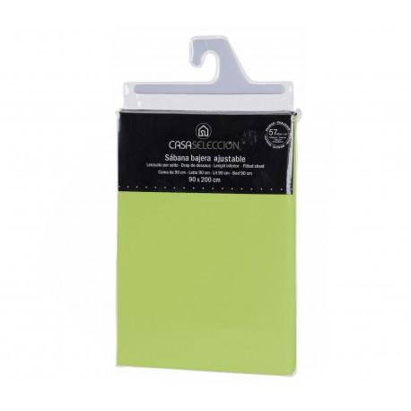 Sábana bajera cama 90 verde 200 x 90 x 30 cm algodon/ poliester.